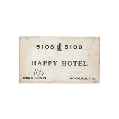 Inspirations on the Behance Network #business card #happy #hotel