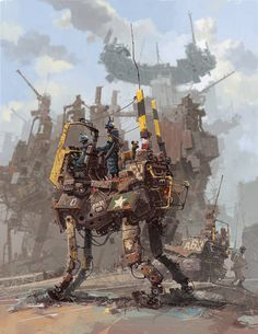 illustration, Ian McQue, sci fi, concept, machines, robot