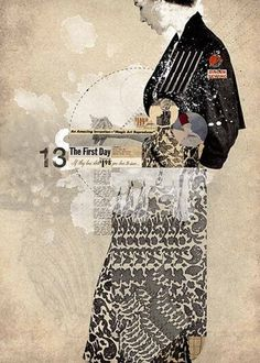 I like how the different patterns in the figure still work together and that she is off center. #layout #collage #japan