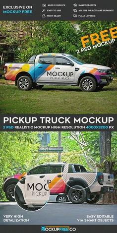 Pickup Truck – 2 Free PSD Mockups