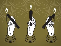 Hands #illustration #hands #candle #beehive