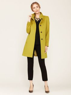 Cinzia Rocca Wool Pipe Neck Coat #jacket #color #winter #fashion #green