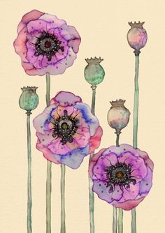 Colleen Parker - Paperface // Wild Poppies #watercolor #poppies