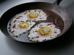 cross stitch frying pan
