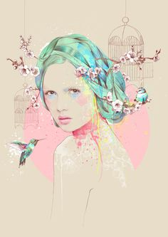 COLLISION on Behance, Ariana Perez #woman #splatters #hair #birds #illustration #colorful #cage #watercolor #flowers