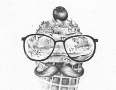 Vanilla Ice #glasses #illustration #vanilla #ice #drawing #moustache