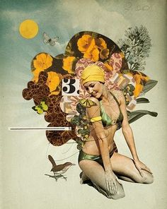 Eduardo Recife #women #collage #flowers #bird