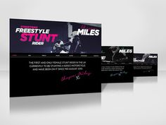 Branding for Chesca Miles / Streetbike freestyle stunt rider #branding #ux #pink #flyer #bold #freestyle #stunt #ui #photography #bike #rider #web