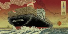 Yuko Shimizu TIGER BEER ad campaign #beer #illustration #ship #cargo #tiger #waves