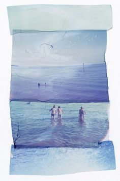 montage #sky #tactile #photo #people #sea #beach #paper