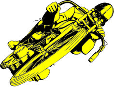 Spacecraft Clothing Varsity Crime Wave #illustration #graphic #process #motorcycle #yellow