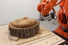 sasha ritter + armand graham sculpt totoro wooden stools with a robot