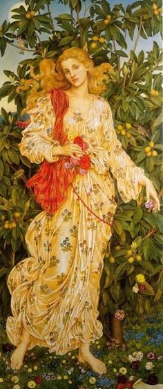 Flora :: Evelyn De Morgan #woman #morgan #london #yellow #golden #summer #painting #spring #oil