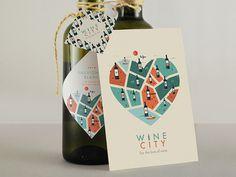 Wine City Branding // For the love of wine #branding #cityscape #illustrator #city #map #label #texture #wine #illustration #vintage #poster #animals #logo