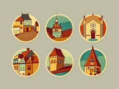 Schäsbrich/Schäßburg icons by Szende Brassai #icon #city #design #graphic #round #town #illustration #building #sticker