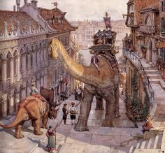 James Gurney #triceratops #brontosaurus #painting #dinotopia #dinosaur #illusration