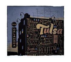 Tulsa - The Everywhere Project #danielle #davis #been #everywhere #illustration #building #tulsa #oklahoma