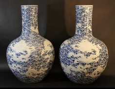 A pair of large Chinese hall vases in bowl shape with long small necks #Sets #Teasets #Porcelainsets #Antiqueplates #Plates #Wallplates #Figures #Porcelainfigurines #porcelain