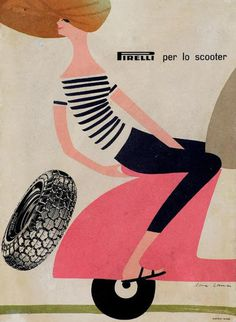 Sixties Pirelli tyre advert for Vespa scooters