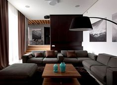 Trendy Functional and Contemporary Home dark draperies soft rugs living room