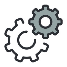 See more icon inspiration related to gear, cogwheel, settings, configuration, Tools and utensils and miscellaneous on Flaticon.