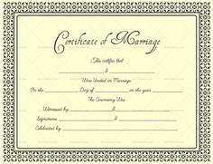 Wedding Certificate Format