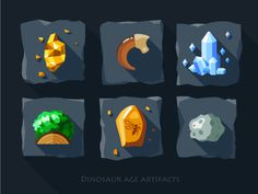 Artifacts icon set - 1 #quartz #old #meteorite #claw #mosquito #crystals #gold #tile #amber #dinosaur #moss #green