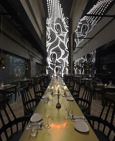 Asian Restaurant with Interactive Light Installation - #restaurant, restaurant, #decor, #interior, interior design
