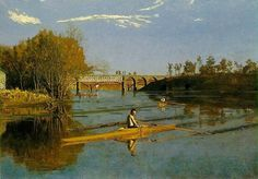 """Thomas Eakins with realist painting \""""Scull\"""""""