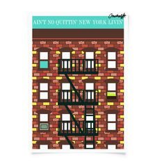 Image of Ain't No Quittin New York Livin #pattern #pop #michael #arnold #print #illustration #poster #art #york #new