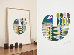 Screen Print Poster #print #geometric #bird #screen #poster