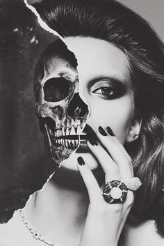 nails, make up, #skull #blackwhite #woman