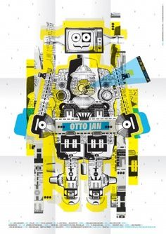 Poster-ottojan.jpg (image) #birth #robot #design #graphic #poster #collage
