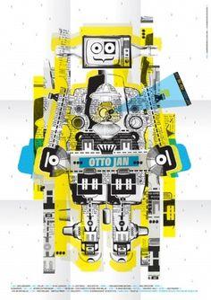 Poster-ottojan.jpg (image) #birth #robot #design #graphic #poster #collage