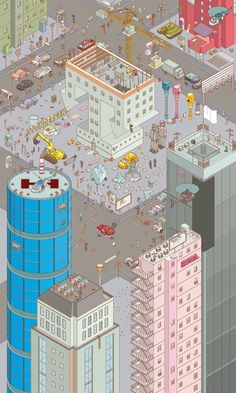 Chaos City on Behance #city #illustration #isometric