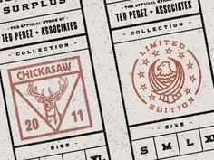 Dribbble - The General's Surplus - Shirt Tags by Alex Rinker #stamp #badge #packaging #seal #logo #typography