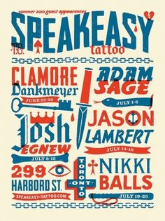 Typography / Speakeasy Tattoo Poster | Flickr - Photo Sharing! #illustration #typography