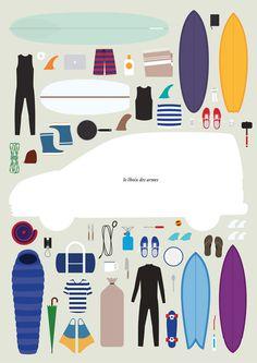 survival kit #surfing #travel #surfboards #illustration #kit #survival