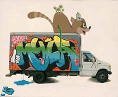 graffiti | Fecal Face #illustration #graffiti #truck #spray can #racoon