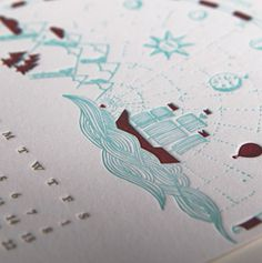 lettepressed calendar (june) #heart #2013 #calendar #letterpress #ship #mountains #sketch