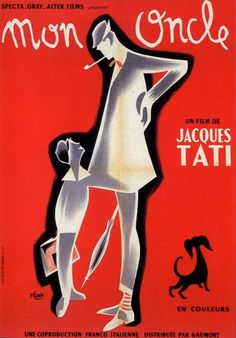 Design Inspiration through Film Art: Mon Oncle #red #french #poster #dog