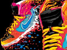 Nike t shirt design 2012 on the Behance Network #vector #vibrant #illustration #sneakers #trainers
