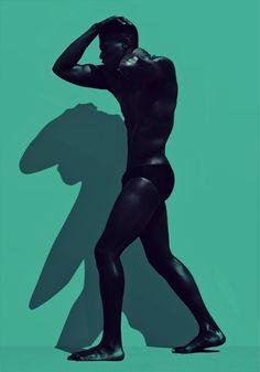 zeroing:Ivan Nava #bizarre #body #human #photography #shadow #blue #man #green
