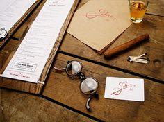 saloon_pieces.jpg (675×506) #glasses #whiskey #cigar #branding #menu #restaurant #spread #collateral