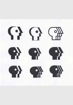 Tom Geismar — alternate study sketches for PBS logo (1984)