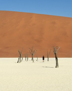 The Deadvlei in Namibia. A place where 900 year old trees stand tall. Through times of relentless drought, winds and heat. A place where a vast white clay pan is surrounded by 300 meter high, mesmerising red dunes that ask the most of any man willing to conquer them. A place of enchanting beauty, and an ear deafening silence. by @lennmoonen