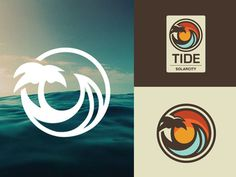 Ocean Surf Logo #ocean #logo #wave #palm tree #hawaii #beach #surf