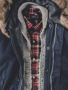 apartment number 9 #sweater #laydown #red #clothes #cold #plaid #fur #coat #outdoor #flannel #winter