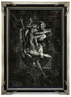 Handiedan #frame #ornate #white #pinup #black #and #collage #money