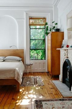 Vintage Style Bedroom mid century wood floors